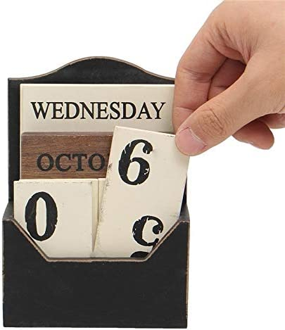 Tischkalender Kalendarien Holz Tischkalender Retro Vintage Wood Block Ewiger Kalender aus Holz Umwelt Office Home Schreibtisch Dekor Diy (Color : Black)
