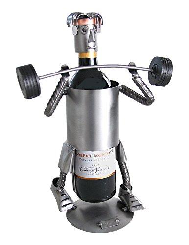 H & K Sculptures Weight Lifter Wine Caddy, ()