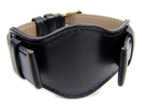 Nizza Ersatzband Uhrenarmband Kalbnappa Band mit Unterlage schwarz 21050G, Stegbreite:18mm