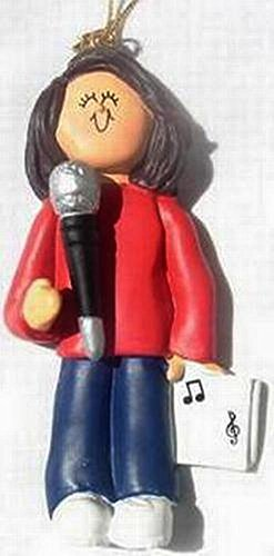 Singing Singer Microphone Personalized Music Christmas Ornament Personalized Free (Female Brown Hair)