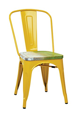 Office Star Bristow Yellow Metal Frame Chair with Vintage Wood Seat, Pine Alice Finish, 2-Pack