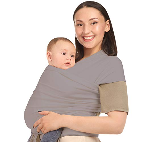 Baby Wrap Carrier Holder - Grey - Toddler, Newborn, Infant, Child - Front, Hip and Kangaroo Holds - Ergonomic Baby Wearing for Men and Women - Organic Cotton