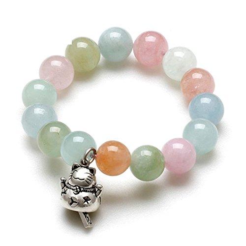 bracelet de pierres de cristal Morgan naturel/Rose bonbon clair nouveau chat porte-bonheur chance bracelets