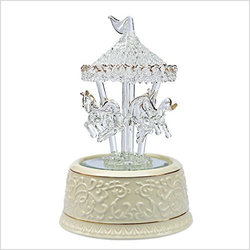 Fytoo Carousel Music Box Shiny Crystal Glass Music Box fro Christmas/ New Year Graduation/ Birthday Gift (Large(song for love you more every day))