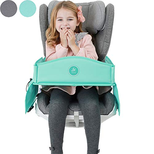 JiniKids Travel tray – Activity Lap play tray – Car seat desk for kids – Toddler Car Travel Activity Setup – Airplane traveling tray – Snack and play Desk – Art Supplies Car Table with Storage Pockets