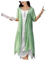 BIUBIU Women Summer 2 Piece Short Sleeve Irregular Layered Loose Beach Dress S-5XL