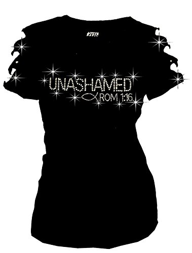 Unashamed Romans 1:16 Christian T-Shirt Angel Wings Back Ripped Cut Out (1X-Large)