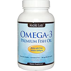 Madre Labs Omega-3 Premium Fish Oil Softgels 100 Ct. with EPA and DHA
