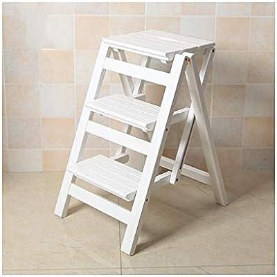 Z-STOOL Escalera De 3 Peldaños, Escaleras De Tijera Plegables De Madera Maciza Escalera Móvil De Interior Multifunción Escalera Ascendente Silla De Asiento (Color : White): Amazon.es: Hogar
