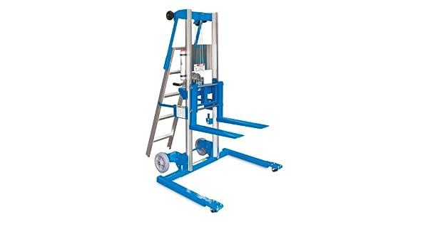 Genie Lift, GL- 12, base de estribo con escalera, elevador manual de aluminio resistente, capacidad de carga de 350 libras, altura de elevación de 13 pies 9.5 pulgadas desde el nivel del