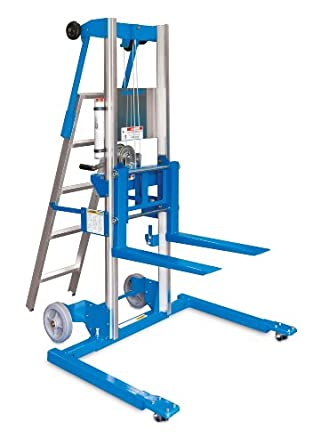 "Genie Lift,GL- 12, Straddle Base with Ladder, Heavy-Duty Aluminum Manual Lift, 350 lbs Load Capacity, Lift Height 13' 9.5"" from Ground Level"