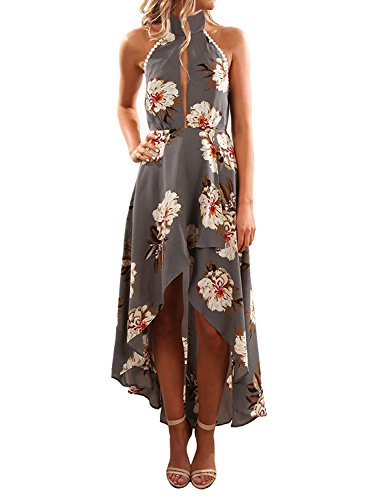ZESICA Women's Halter Neck Floral Printed High Low Beach Party Maxi Dress,Grey,Medium by ZESICA
