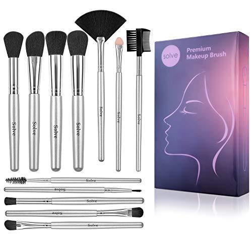 SOLVE 12pcs Makeup Brushes Premium Synthetic Silver Make up Brush Set Foundation Concealer Eye Face Brushes with Box Cosmetic Eye Basic Brush
