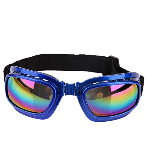 0222 Sunglasses - BeesClover New Cool Dog Sunglasses Windproof Anti-Breaking Pet Goggles Eye Wear Protection Goggles Sun-Resistant Dog Glasses Accessaries Blue