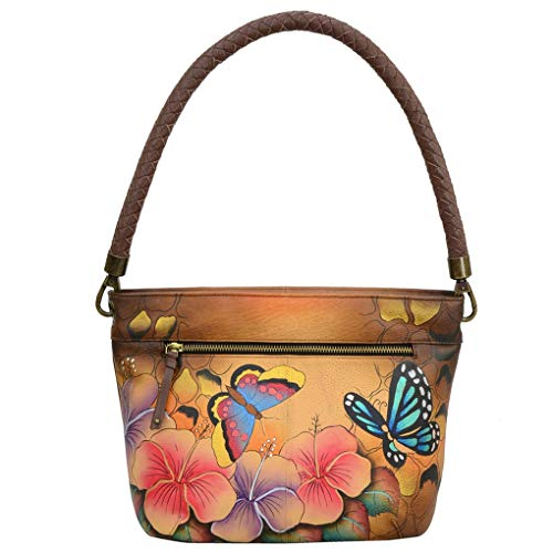 Anna by Anuschka Leather Hobo Shoulder Hand Painted Handbag & Purse Holder Bundle (Animal Hibiscus Braided Handle)