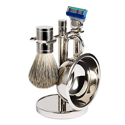 Luxury Men Straight Shaving Razor Badger Hair Brush Stand Holder Leather Strop Soap Bowl