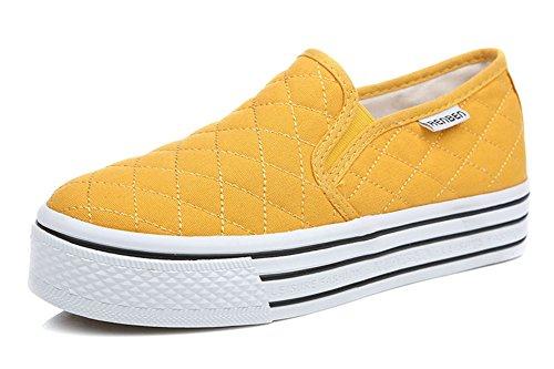 Aisun Frauen Beleg auf Plattform Loafers Canvas Schuhe Turnschuhe Gelb