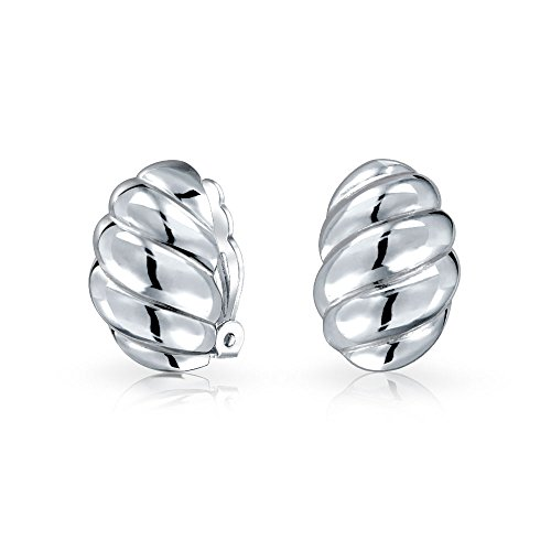 .925 Silver Modern Wavy Lines Clip On Earrings Nickel Clip by Bling Jewelry