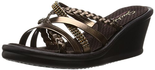 - Skechers Cali Women's Rumblers Wild Child-Social Butterfly Wedge Sandal,Bronze Rhinestone,7.5 M US