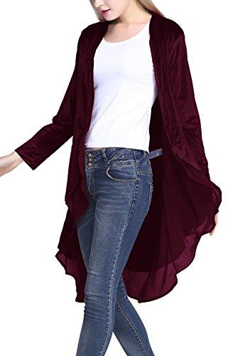 Urban CoCo Women's Long Sleeve Velvet Cardigan Coat with Asymmetric Chiffon Hem (2XL, Maroon) (Maroon Coat)