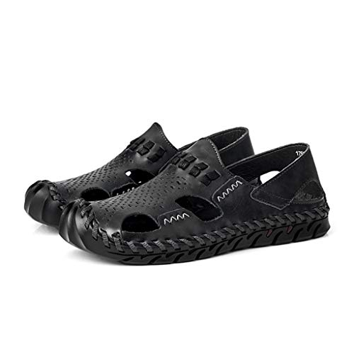 Leather Sandals for Men 2019 New Casual Lightweight Hiking Beach Water Shoes (US:11.5, Black 3)