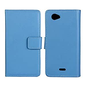 Flyshell Cowskin Flip Leather Wallet Card Pouch Stand Back Case Cover For Sony Xperia J ST26i Blue