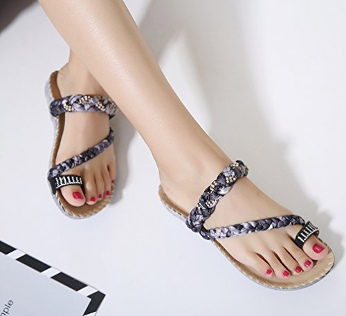 YoungSoul Women's Plaited Flip Flops with Embellished Rhinestone Summer Beach Slippers Toe-Ring Toe Post Flat Sandals Black 9zL1TMu