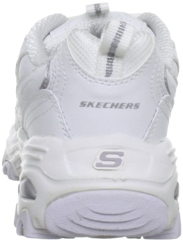 Skechers Sport Women's D'Lites Lace-Up Sneaker, White/Silver, 8 M US
