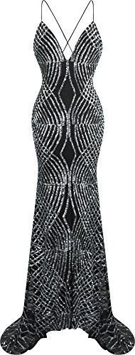 Angel-fashions Women's Spaghetti Strap Sequin V Neck Mermaid Long Sweep Train Ball Gown (M, Silver)