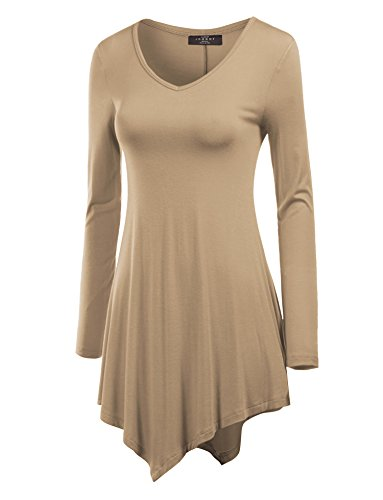 WT737 Womens Long Sleeve Handkerchief Tunic S TAUPE (Taupe Clothing)