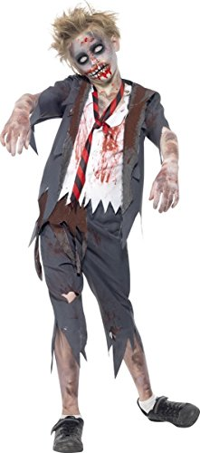 KULTFAKTOR GmbH Big Boys' Zombie School Halloween Costume Large (10-12 Years) Grey/White