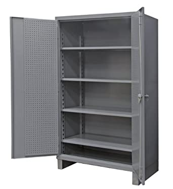 Superior Durham Extra Heavy Duty Welded 12 Gauge Steel Pegboard And Shelf Cabinet,  HDCP244878 4S95