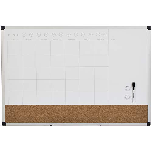 AmazonBasics Dry Erase and Cork Calendar Planner Board, 24