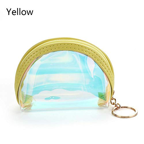 Women Zipper Coin Purse PVC Laser Credit Card Holder Wallet Pocket Bag Gift (Color - Yellow)
