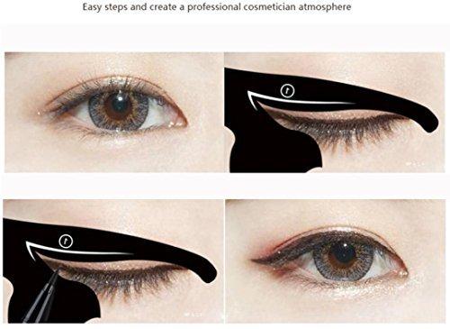 AMA(TM) 2Pcs Women Cat Line Pro Eye Makeup Tool Eyeliner Stencils Template Shaper Model (Black)