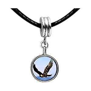 Chicforest Silver Plated Flying Mighty Eagle Photo White Crystal(April Birthstone) Flower dangle Charm Beads Bracelets European Bracelets Compatible