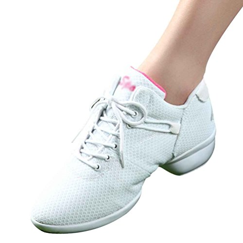 YouPue Women's Mesh Breathable Dance Training Shoes Trainers Round Toe Sneakers Lace Up Sport Shoes White d0ugEgU0