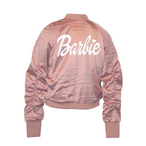 Barbie Pink Satin Bomber Jacket - L -