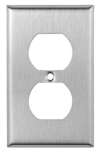 10 Pcs New Stainless Steel Metal Duplex Brushed Standard Size Wall Plate Receptacle Toggle Switch Power Outlet Covers with Installation Screw - Jumbo Six Outlet Wall Plate