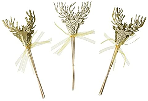 Talking Tables Party Porcelain Stag Canape Picks (12 Pack), (Animated Christmas Decor)