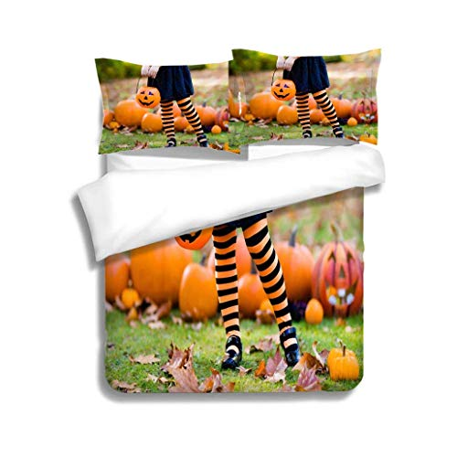 VROSELV-HOME Cotton Bedding Sets,Little Girl in Witch Costume on Halloween Trick or Treat,Soft,Breathable,Hypoallergenic,Kids Bedding-Does Not Shrink or Wrinkle]()