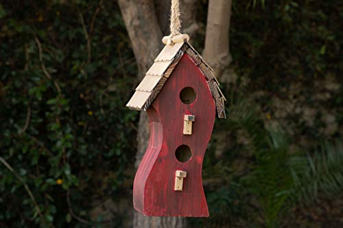 Alpine Corporation YEN144HH-RD Swirly Wooden Birdhouse, 16 Inch Tall, Red