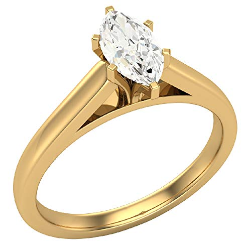 0.50 carat K I1 Marquise Cut Diamond Engagement Ring for women 14K Yellow Gold 6-prongs Solitaire Setting (Ring Size 6)