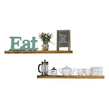 del Hutson Designs Handmade 36-Inch Rustic Pine Floating Wall Shelves, Walnut (Set of 2)