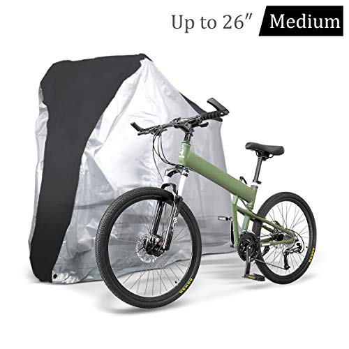 Bike Cover - Outdoor Waterproof Anti-Dust Bicycle Wheel Cover - Foldable Bike Storage Bag with Anti-Theft Lock Holes - Large Size Bicycle Cover for Mountain & Road Bike