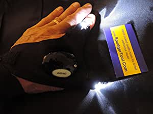Glove FlashLight with SpudgerToolCOM Storage Pouch for Night Time Repairs, Hunting, Fishing, Camping, Rescue, Biking