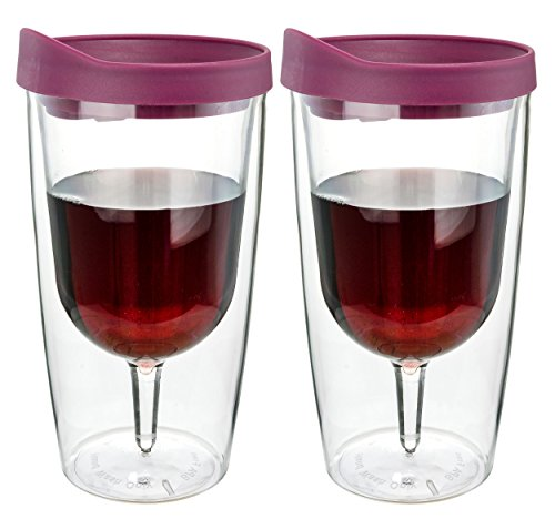 Southern Homewares Wine Tumbler - 10oz Insulated Vino Double Wall Acrylic With Merlot Red Drink Through Lid - Wine 2Go!, Set of 2