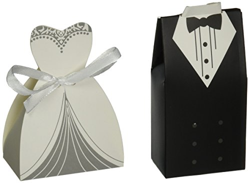 OliaDesign Wedding Party Creative Tuxedo Dress Groom Bridal Candy Gift Box with Ribbon, 50 (Groom Candy Favor Bags)