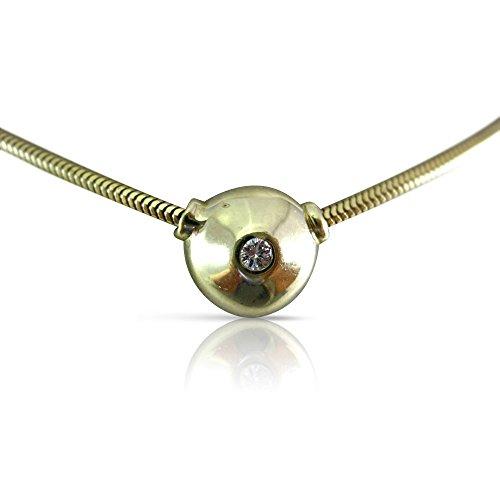Milano Jewelers .07CT DIAMOND 14K YELLOW GOLD SOLITAIRE BEZEL FLOATING PENDANT 6973