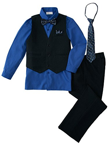 - Spring Notion Baby Boys' 5 Piece Pinstriped Vest Set Royal Blue 12 Months